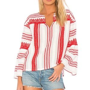 Joie Selbea  Embroidered Striped Boho Top